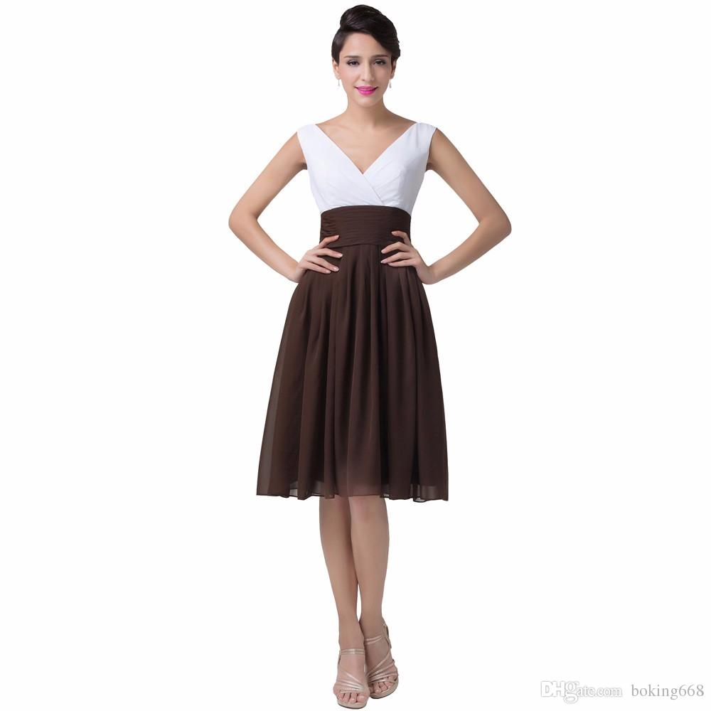 dd3b2bdb95ce Short Cocktail Dresses Simple Style Coffee Color 2016 New Arrival Vestido Knee  Length V Neck Mixed Colors Prom Formal Dresses Ball Gowns Casual Dresses  From ...