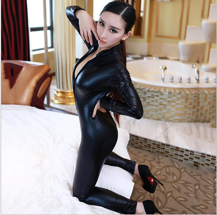 Hot Sexy Mulheres Corpo Ternos Fetish Couro Trajes Vestido Sexy Preto Catwomen Jumpsuit Spandex Latex PVC Catsuit Plus Size S-XL