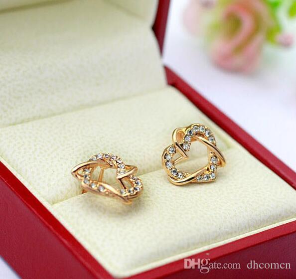 Двойное сердце дизайн Кристалл ожерелье и серьги наборы материал Алмаз сердце кулон ожерелье серьги комплект ювелирных изделий