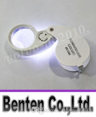 40x 25mm Glass Magnifying Jeweler Magnifier Eye Jewelry Loupe Loop tz Lights Led Light LLFA11