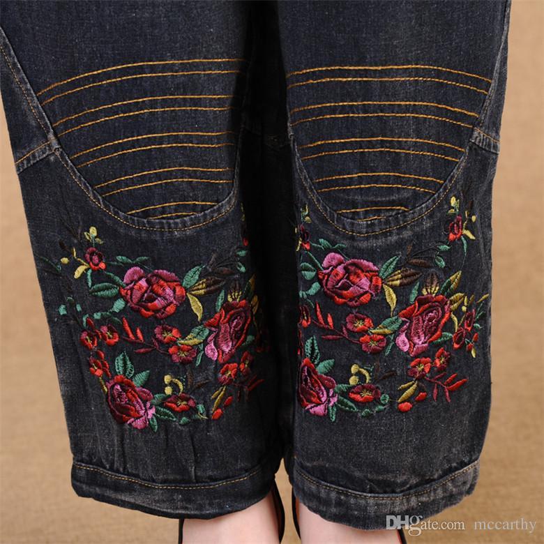 Pantalones de mezclilla de mezclilla elásticos de cintura elástica casual pantalones de mezclilla de las mujeres más el tamaño bloomers pantalones sueltos otoño bordado de primavera pantalones femeninos bjn0601