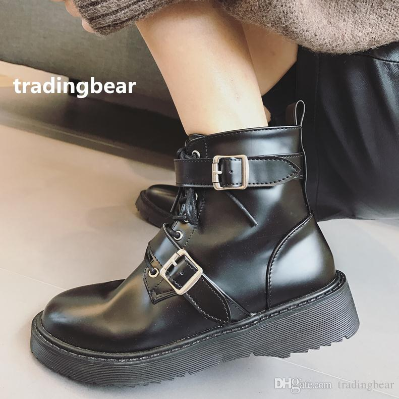 6ea7a5f7b50 2018 Fashion Ankle Boots Military Style Womens Black PU Leather Shoes With Buckle  Casual Lesiure Womens Boots Boots Uk From Tradingbear