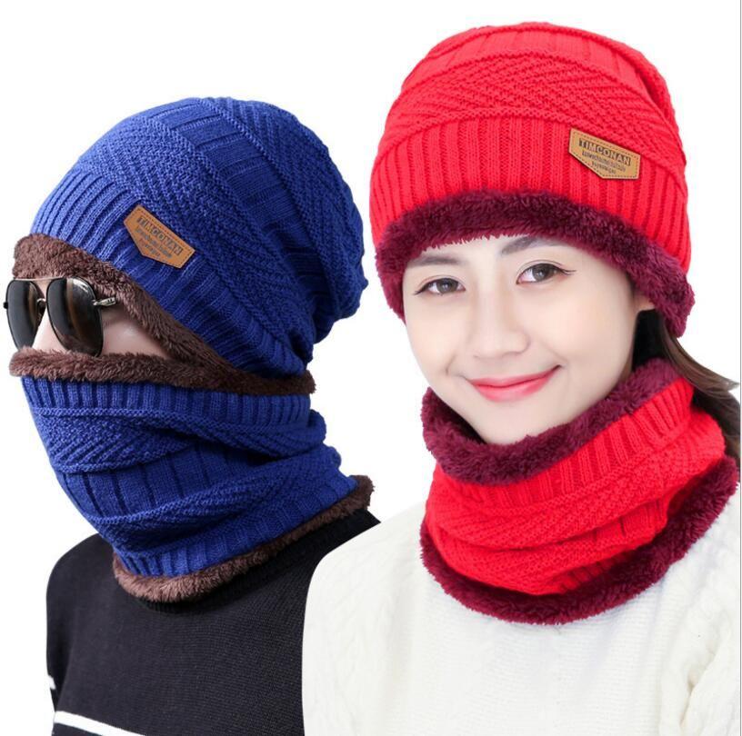 6c4b6936f53 2019 Neck Warmer Knit Ski Cap Scarf Cold Warm Fur Lining Winter Hat For Women  Men Knitted Velvet Skullies Beanies Bonnet From Zerui