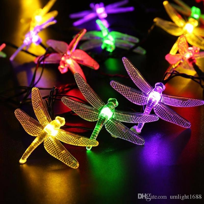 Umlight1688 Solar Christmas Lights 19.7ft 30 LED 8 Modes Solar Dragonfly Fairy String Lights for Xmas Party Decorations Outdoor Solar Lamp
