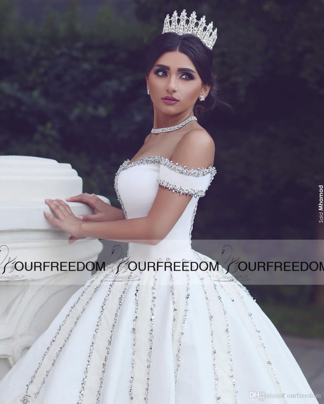 2019 Said Ahamad al largo della spalla Abiti da sposa Brillante in rilievo Cattedrale di cristallo Treno Abito da sposa Bianco Avorio Raso il Castello di Nozze
