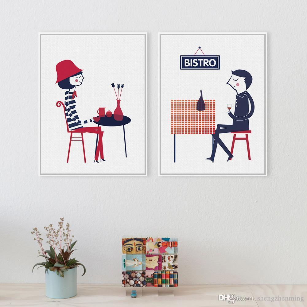 2017 minimalist french boy girl cafe abstract a3 poster prints