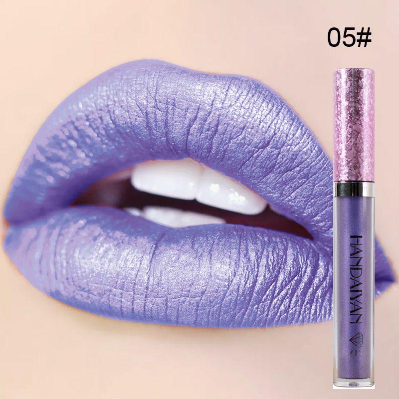 Dhl-freies NEUES 6 Farbe HANDAIYAN Diamantkorn-leichter Lipgloss Antihaftschale-Meerjungfrau ihr Lippenstift Lipgloss wasserdicht langlebig