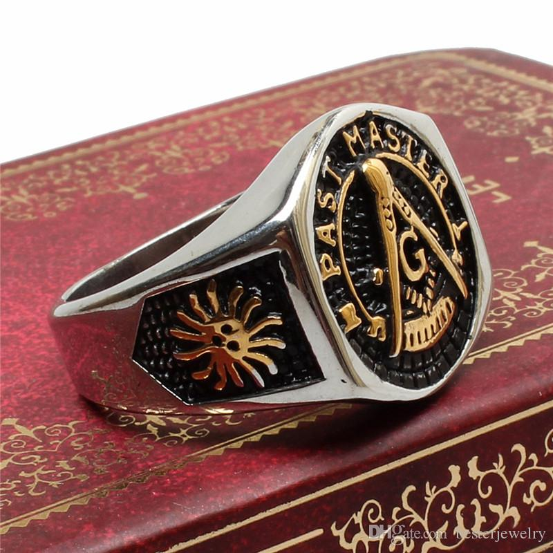 mixed size gold men's ring jewelry 316l stainless steel Masonic freemasonry signet rings with crystal gem ring