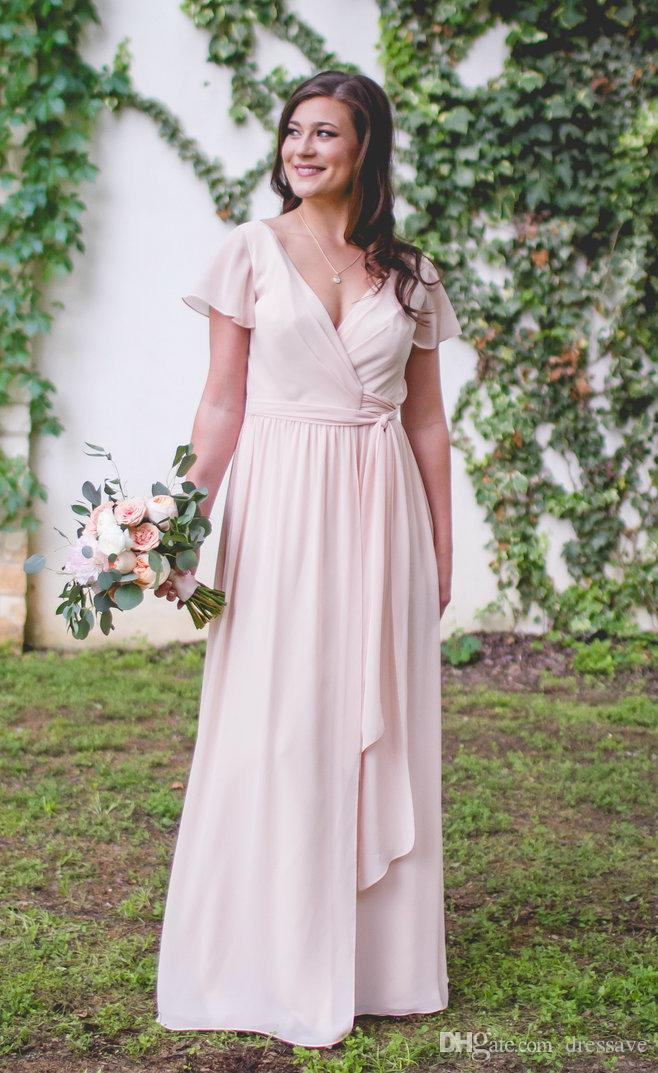 Country Dusty Pink Bridesmaid Dresses 2018 Elegant Tie Waist Short Sleeve Maid Of Honor Dres For Weddings Cheap Long Wedding Guest Gowns