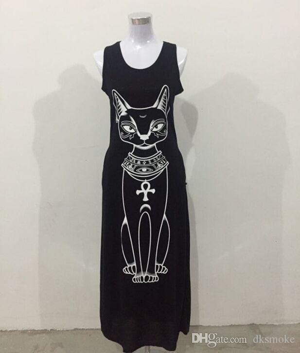 New fashion Women Summer Sexy Small Cat Print Casual Boho Long Maxi Evening Party Beach Dress Vest Sundress