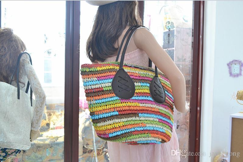 2016 nouveau mode d'été Rainbow couleur grand sac de paille Préparer le sac de plage haute capacité plage coloré grandes oreilles sacs à main