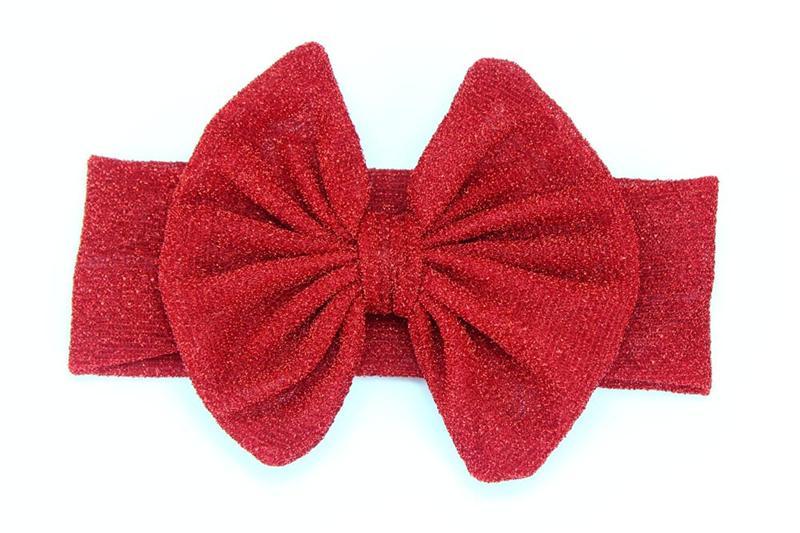 Новые девушки повязки на голову большие банты дети дети аксессуары для волос бантом ленты для волос эластичный сплошной серебряный провод широкие повязки 10 цветов KHA513