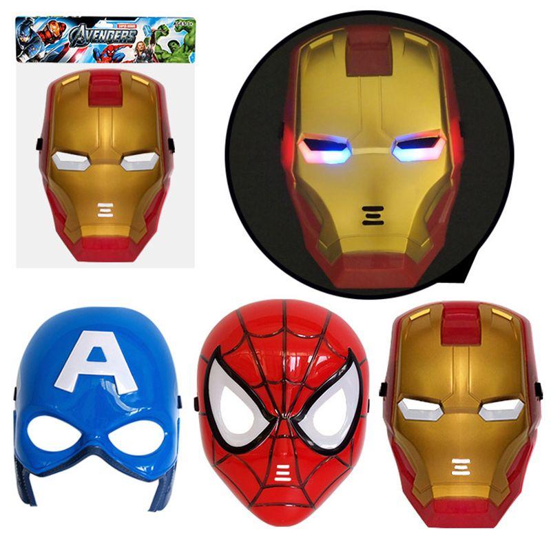 Avengers LED Flash leuchtende Masken Superheld Captain America Spiderman Iron Man Beleuchtung Maske Kinder Halloween Cartoon Party Maske