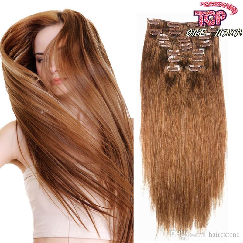Brazilian Remy Human Hair Extensions Full Head Hair Wavy Clip Inon