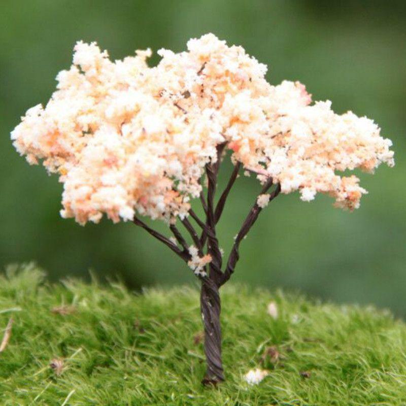 2017 Sale~/ Pink Artificial Tree/Miniatures/Cute Plants/Fairy Garden  Gnome/Moss Terrarium Decor/Crafts/Bonsai/Bottle Garden From Gardenfairy, ...