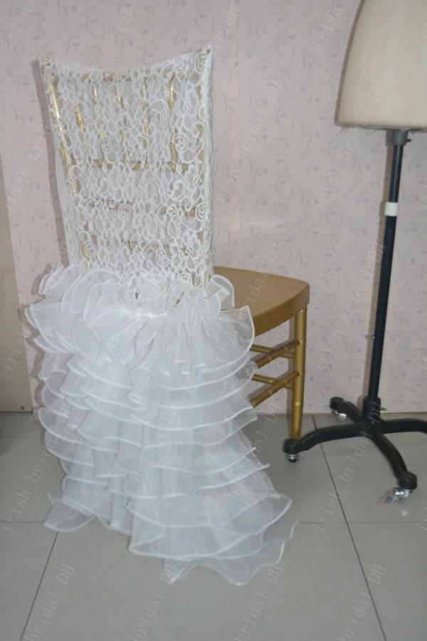 2016 Custom Made Lace Ruffles Chair Covers Romantic Beautiful Organza Crystal Chair Sashes Cheap Wedding Chair Decorations 08