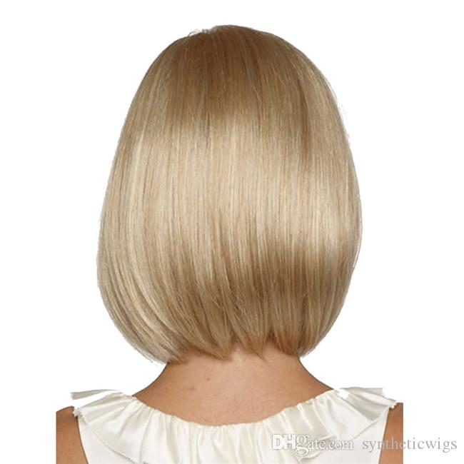 WoodFestival short blonde wig high temperature straight hair wigs white women medium length fiber synthetic hair bob wig
