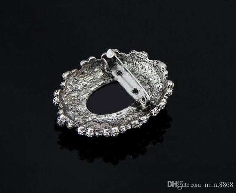 Fashion Antique Silver Plated Vintage Brooch Pins Female Brand Jewelry Queen Brooches Rhinestone For Women Christmas Gift DHH093