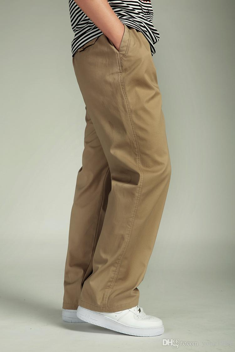 Plus Size Hip Hop Clothes Full Length Relexed New Loose Pants Casual Fashion Big Fat Mens Cargo Pants Male Comfortable Cotton Man Trousers