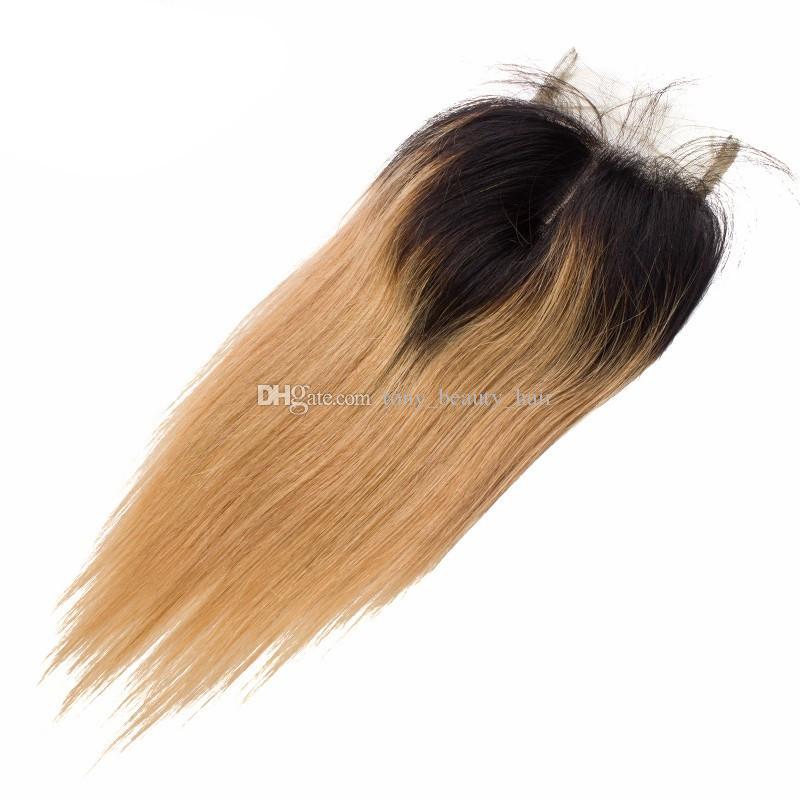 Мед блондинка омбре наращивание волос #1B 27 омбре темные корни человеческих волос 3шт с закрытием кружева два тона девственные перуанские волосы ткать