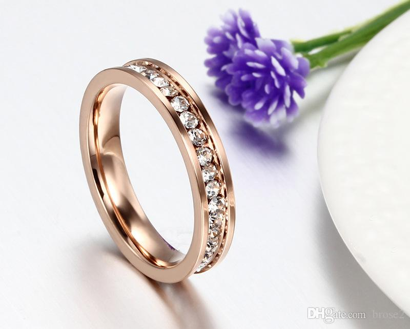 2019 18K Rose Gold Plated Single Row Full Diamond Wedding