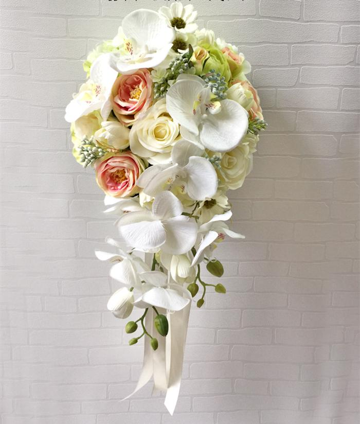 Top Quality Handmade Artificial Silk Wedding Bouquet Flower For Bride Bridal Bridesmaid White Teardrop Cascade