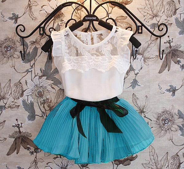 summer girls dress set Chiffon dresses for baby girl children fashion clothing short sleeve T-shirt tops+skirts kids suit