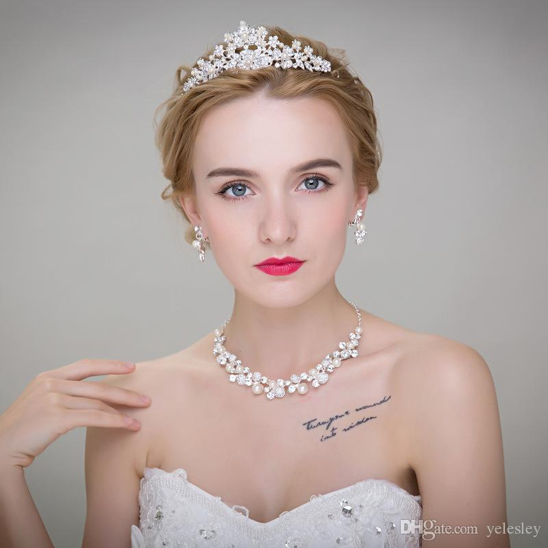 Cheap High Quality Hot Sale Wedding Bridal Crown Necklace Earring Party Jewelry Bridal Jewelry