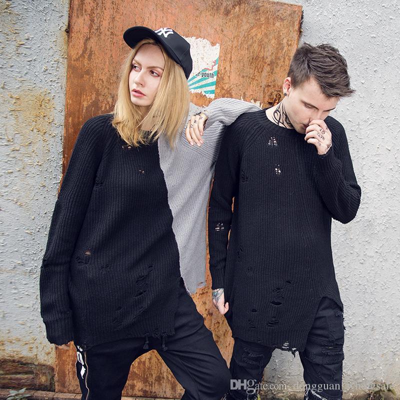 Holes Winter Fashion Maglione Mens Knaye West Vintage Hip-Hop Style oversize cucitura maglione uomini pullover di alta qualità
