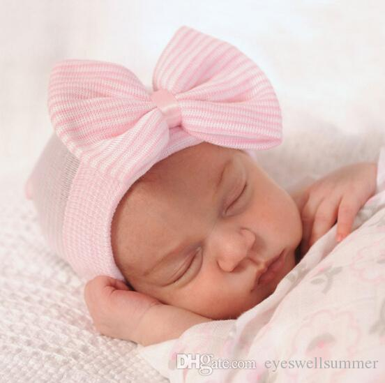 Baby Crochet Hats with Bow Newborn Toddler Girl&Boy Baby Infant Warm Knit Hospital Hat Beanie Bow hat Fashion Design