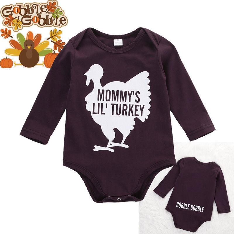 2016 high quality baby romper Newborn kids Boy Girl Infant Long Sleeve Bodysuit MOMMY'S LIL' TURKEY funny letters printed Jumpsuit Clothes