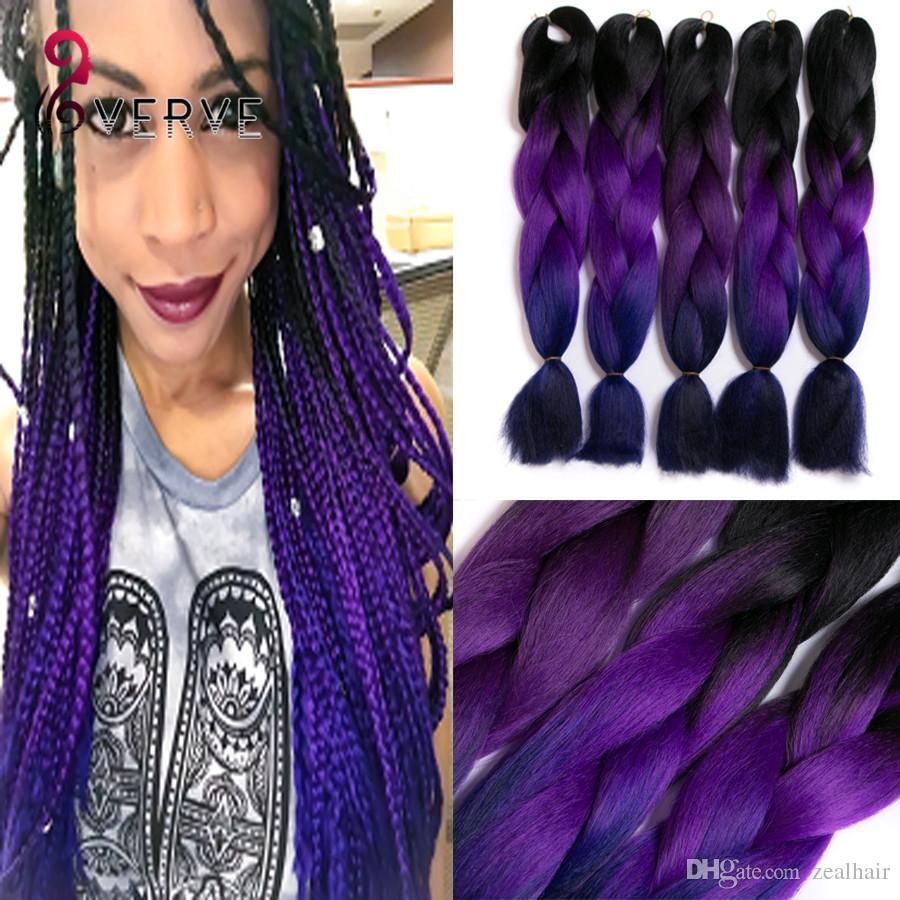 Purple Braiding Hair High Temperature Fiber Expression Braiding Hair