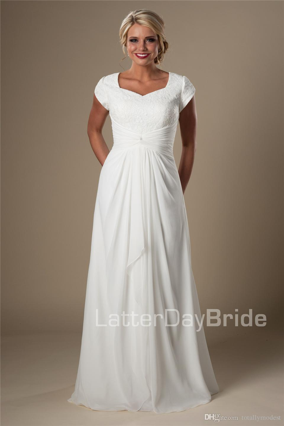 Ivory Lace Chiffon Beach Modest Wedding Dresses With Cap Sleeves Long A-line Bridal Gowns Informal Destination Wedding Gowns New Sale
