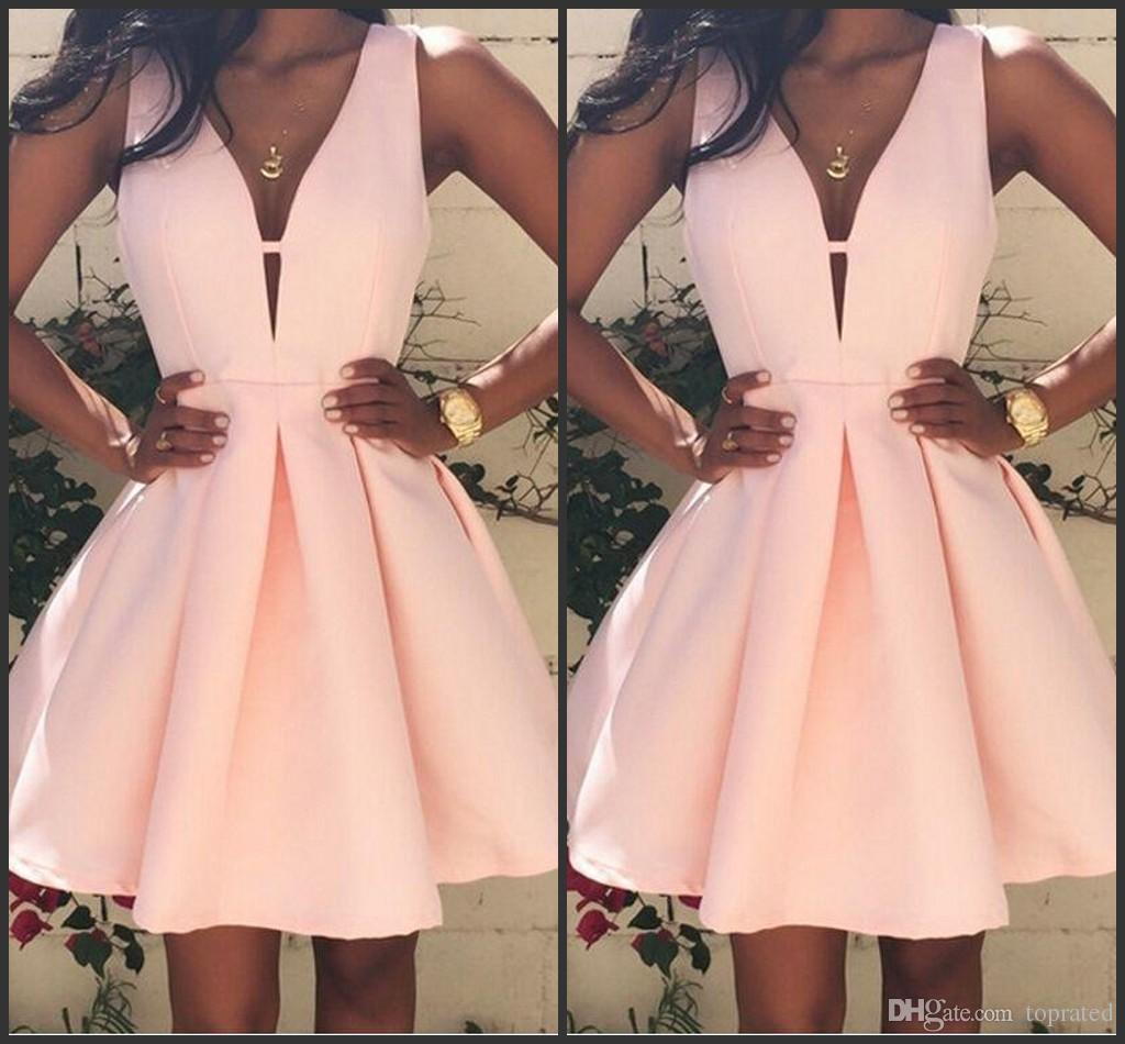 2016 Pink Short Cocktail Dresses V neck Backless Stain Mini Stain Ruffles Prom Party Dress Custom Made Special Occasion Gowns