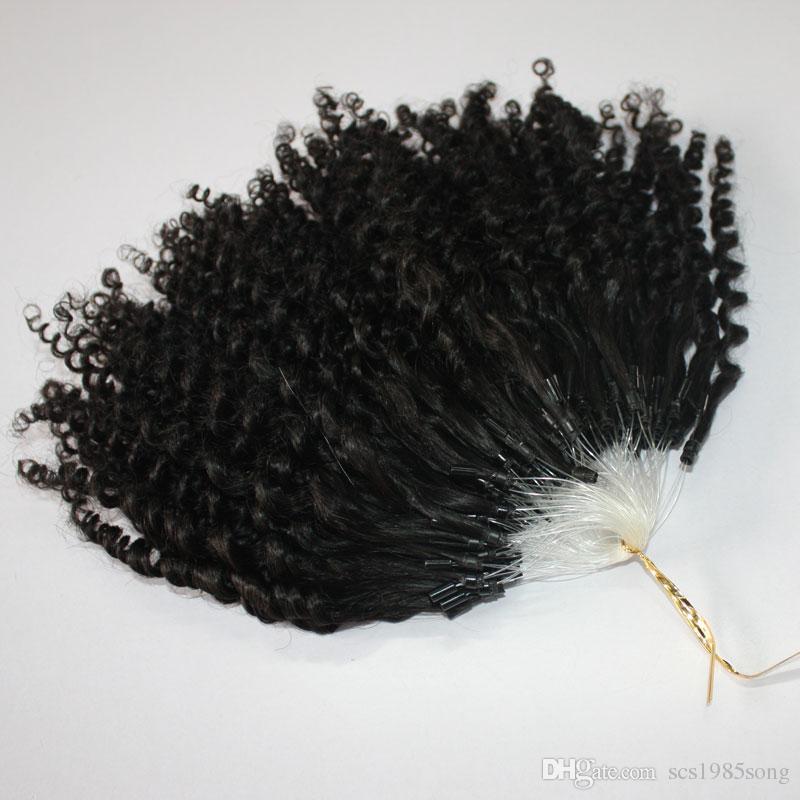 CE belgeli kinky Jerry Kıvırcık Mikro Yüzük Saç Uzantıları 400 s / grup Sapıkça Kıvırcık Döngü Saç Doğal Renk Döngü saç