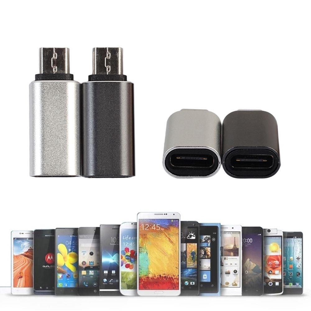 2 unids / lote Convertidores USB Tipo Reversible C Hembra a Micro USB Male Conector Adaptador de Aluminio Conector Enchufe