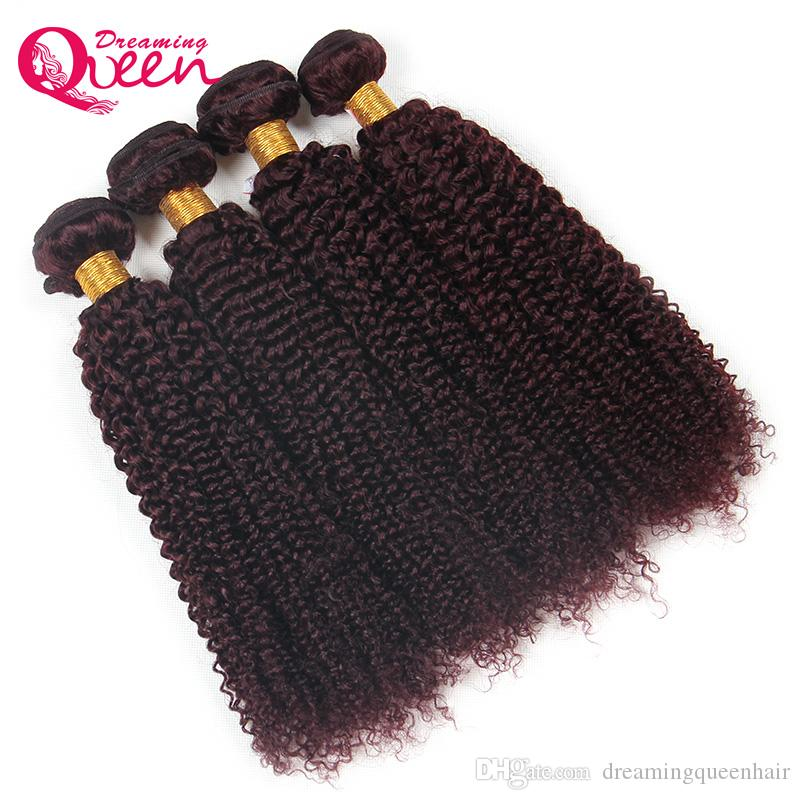 99J Bourgogne Couleur Brésilien Crépus Bouclés Extension de Cheveux Humains Vierge Cheveux Humains Weave 3 Bundles Dreaming Queen Hair Livraison Gratuite