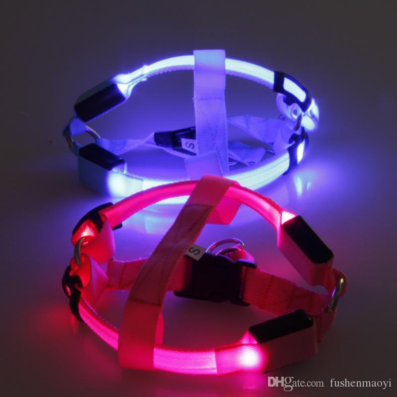 Nagelneue Haustier-Versorgungsmaterial-Reihe LED-Nylonhundechaist-Bügel-Nachtsicherheit LED blinkendes helles Glühen in der Dunkelheit 6 Farben PET-Hundekatze-Kettenriemen