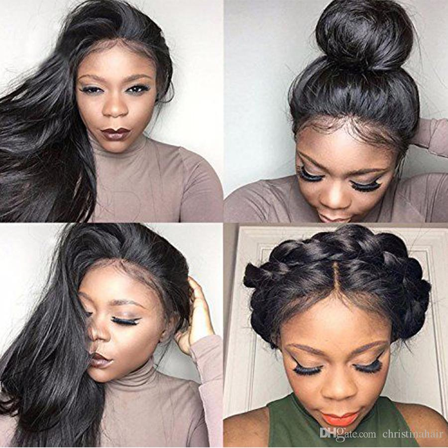 130% Density 360 Lace Pre Plucked Natural Hairline Straight 360 Lace Frontal Malaysian Virgin Hair Full Lace Human Hair With Baby Hair