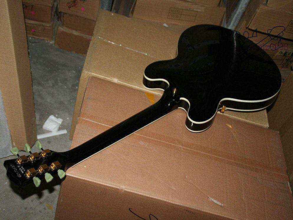 블랙 커스텀 샵 Hollow 335 Jazz Guitar 고품질 무료 배송