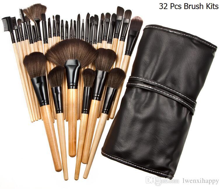Comercio al por mayor 32 Unids Set Profesional Pincel de Maquillaje Fundación Sombras de Ojos Barras de Labios en Polvo Maquillaje Pinceles Herramientas + Bolsa pincel maquiagem