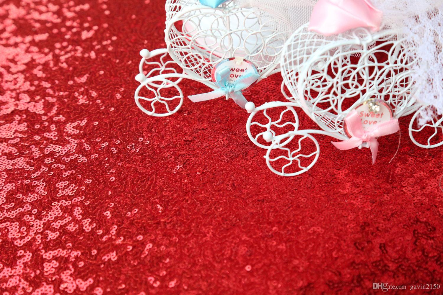 High Quality 120inch Fuchsia Sequin Tablecloth Shiny Table Cover For Wedding Banquet Party Home Decoration
