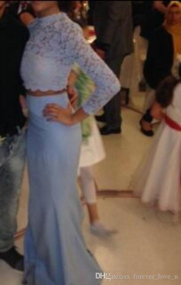 Impresionante moda de dos piezas Vestidos de baile Ilusión Cuello alto Encaje Top corto de manga larga Sirena Vestidos de fiesta formales largos de noche