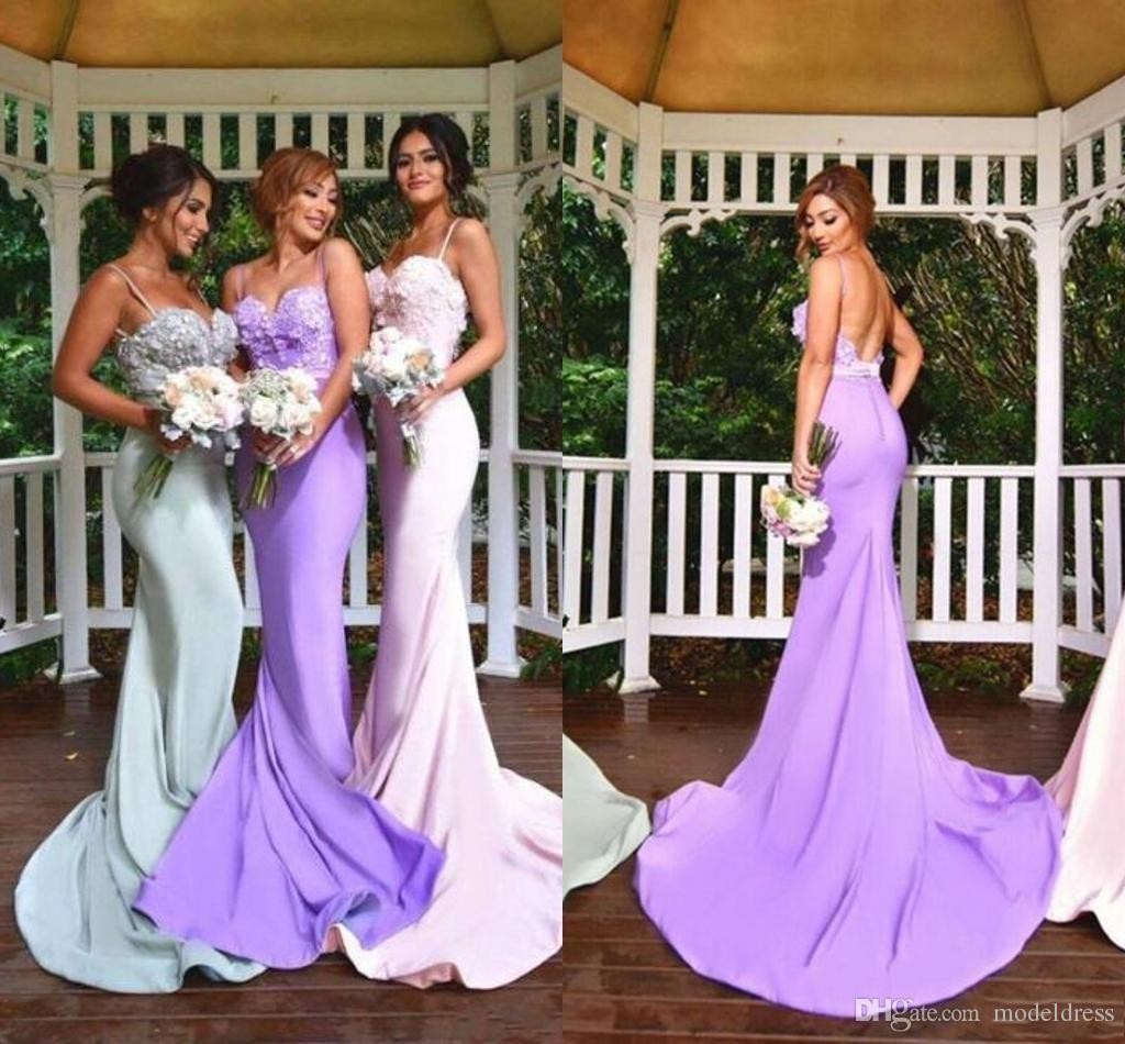 2017 New Design Silver Pink Mermaid Bridesmaid Dresses Spaghetti Appliques Lace Long Lavender Formal Wedding Guest Party Gowns 2016 Cheap Bridal: Lilac Silver Wedding Dresses At Websimilar.org