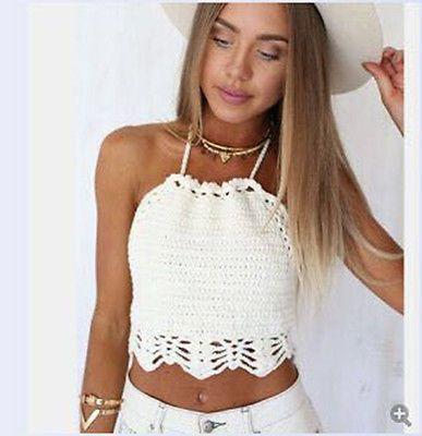 105392d304 Wholesale-Women Crochet Halter Crop Top Bralette Knit Cami Tank Sexy Boho  Beach Bikini Bra