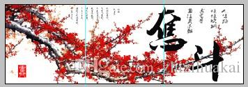 no frame art picture on Canvas Prints chinese characters poetry Plum peony fish Cartoon flower tulips