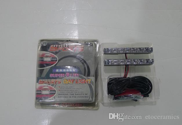 Bilens exteriör dekoration LED Dag Ljusbil Running Daylight-Auto LED 6LED DRL Daylight White 12V DC Head Lamp