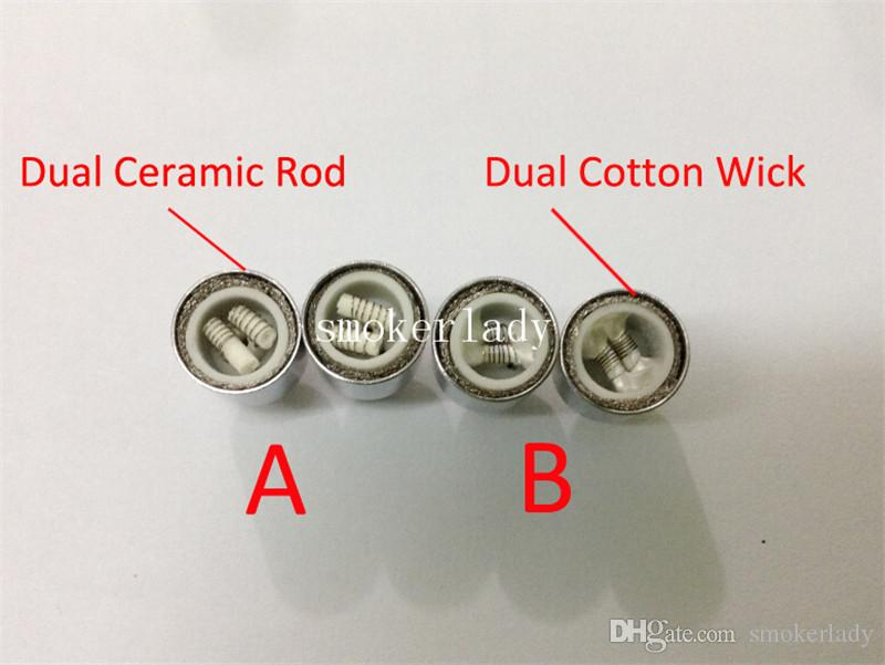 Best Dual wax cannon Coil ceramic rod replacment e cigarette atomizer changeable wax dual coil head for Cannon Bowling Vase Glass Globe Tank