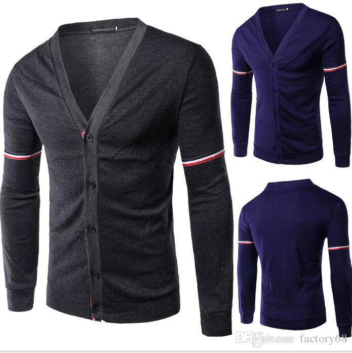 2016 new male fashion V collar long sleeved knit cardigan jacket sleeve stripes slim knit jacket Y005
