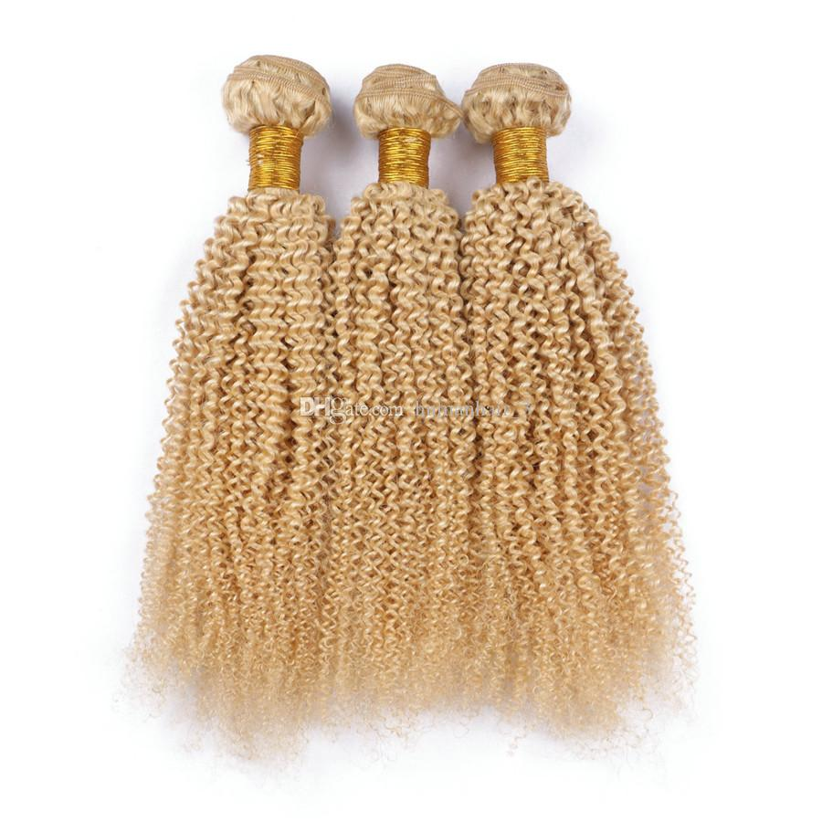 Blonde Afro Kinky Hair Bundles # 613 Platinum Blonde Deep Kinky Curly Mongolian Virgin Human Hair de calidad superior tramas
